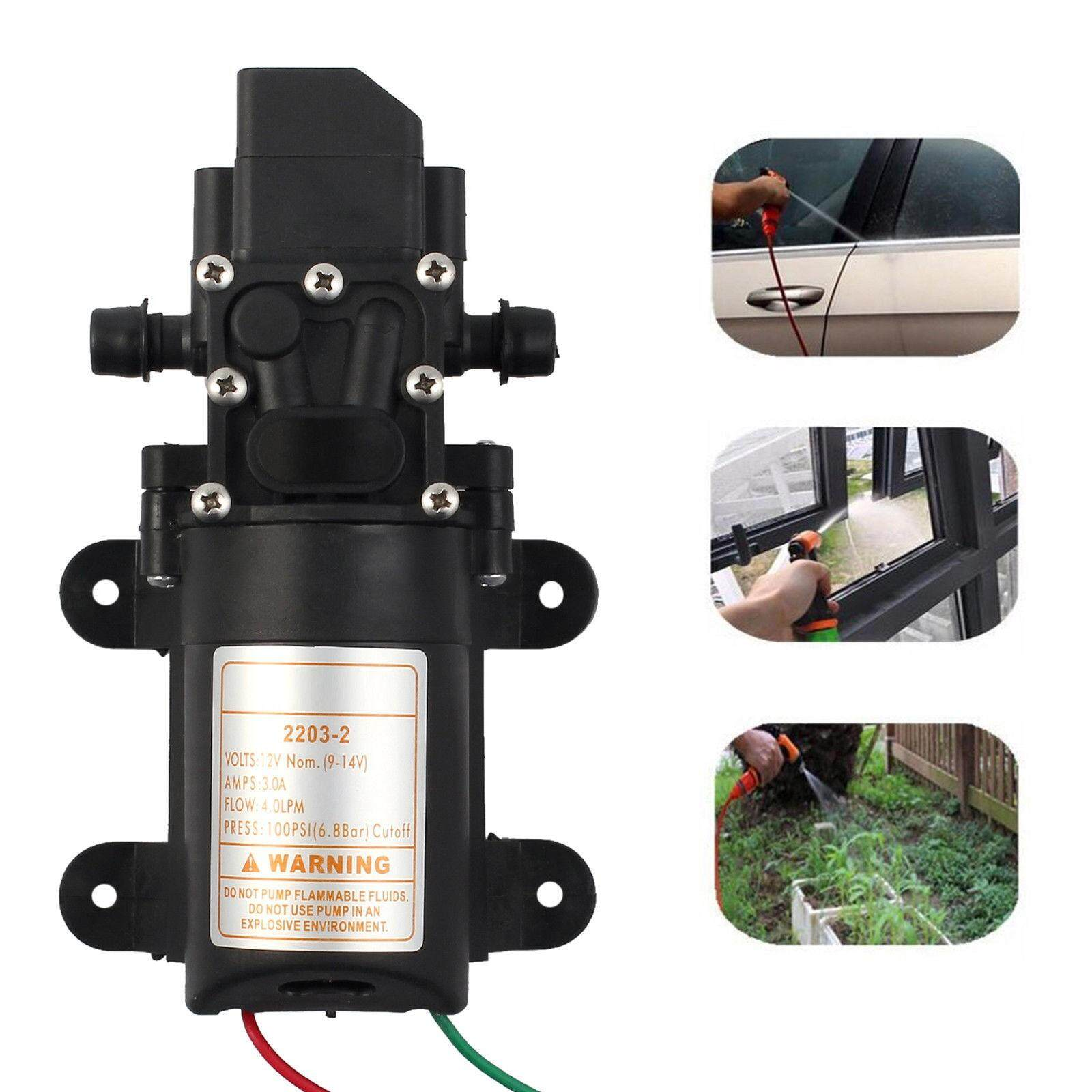 12V 70W Water Pump 130PSI 6L/Min Self Priming Diaphragm Water Pump High Pressure Automatic