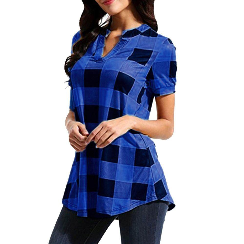 9ad28b430c6 Carolaneshop Blouses Tops Shirts for Girls Women Casual Plaid Printed Short  Sleeve V-Neck Irregular