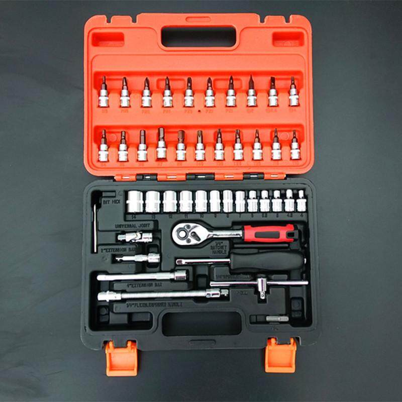 46PCS Spanner Socket Set 1/4 Car Repair Tool Ratchet Wrench Set Cr-v hand tools Combination Bit Set Tool Kit