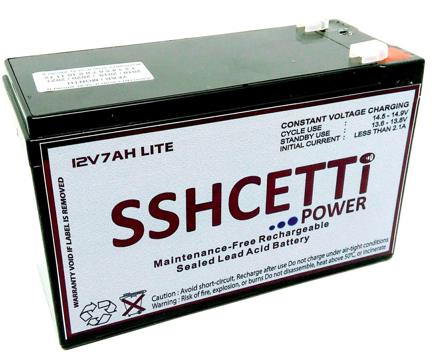 SSHCETTI 12V 7AH LITE Rechargeable Sealed Lead Acid Battery For Electric Scooter/ Toys car / Bike /Solar /Alarm /Autogate Malaysia
