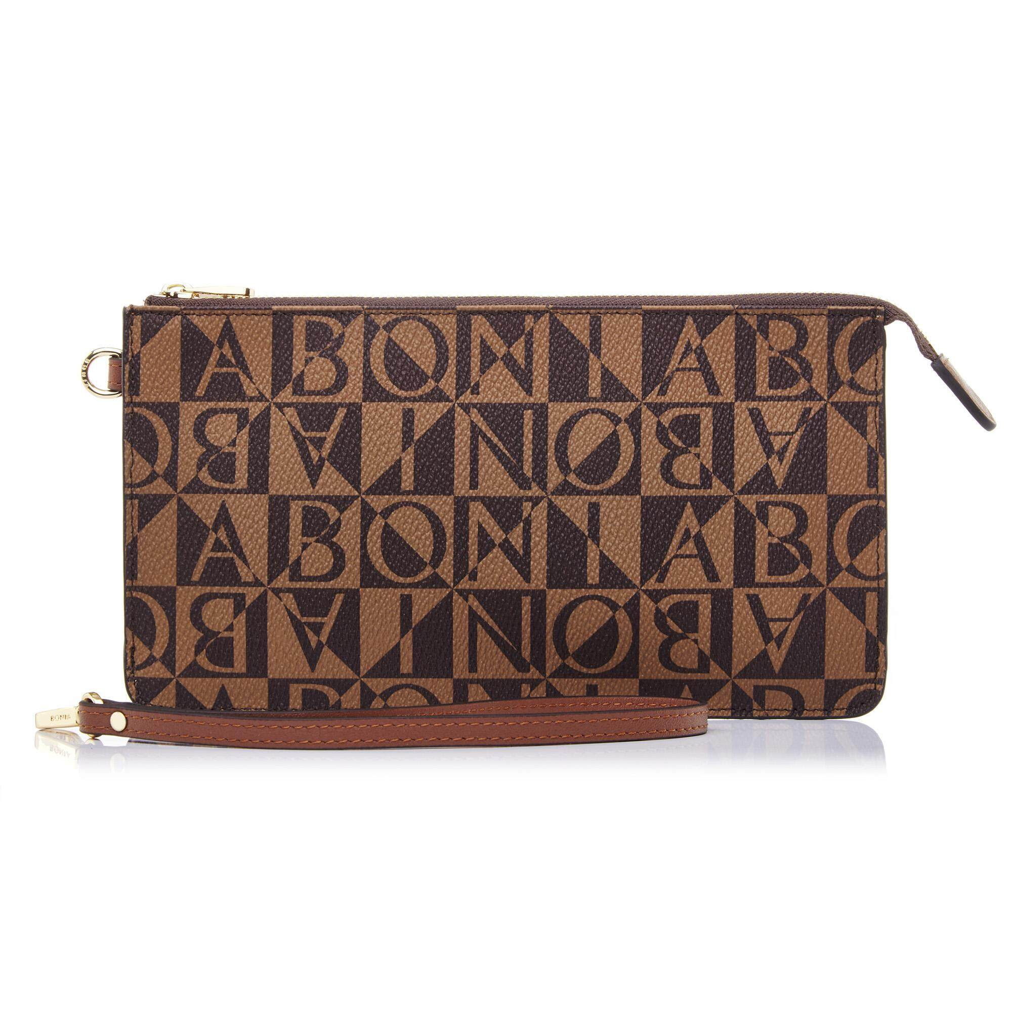 Bonia Dark Brown Monogram Pouch M