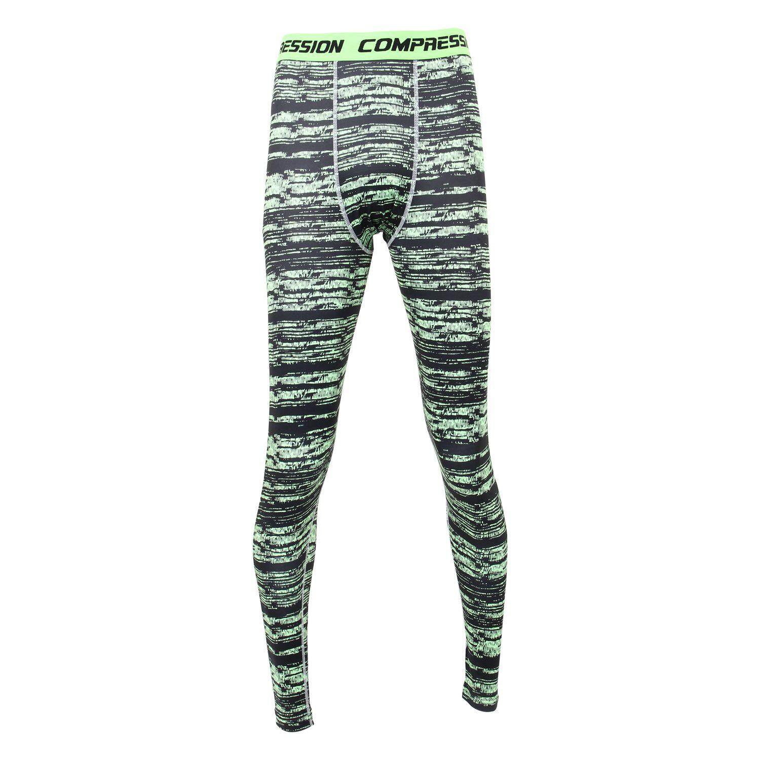 569100dd18 Men Compression Long Pants Running Base Layers Skins Tights Army Camouflage  Soccer Joggers Trousers(Green
