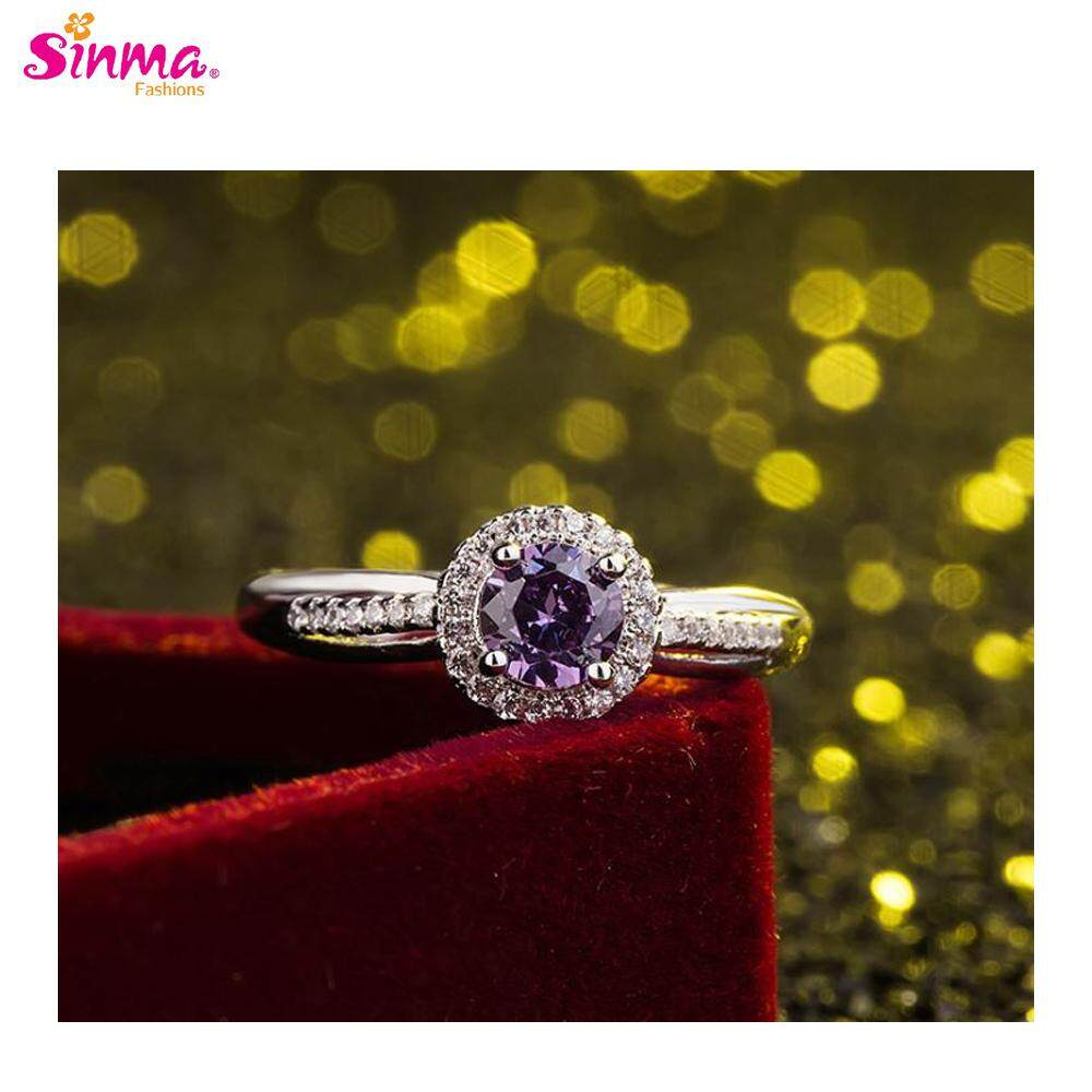 Sinma Fashions European Style Accented Halo Floating Prong Diamond Rings Couple Rings