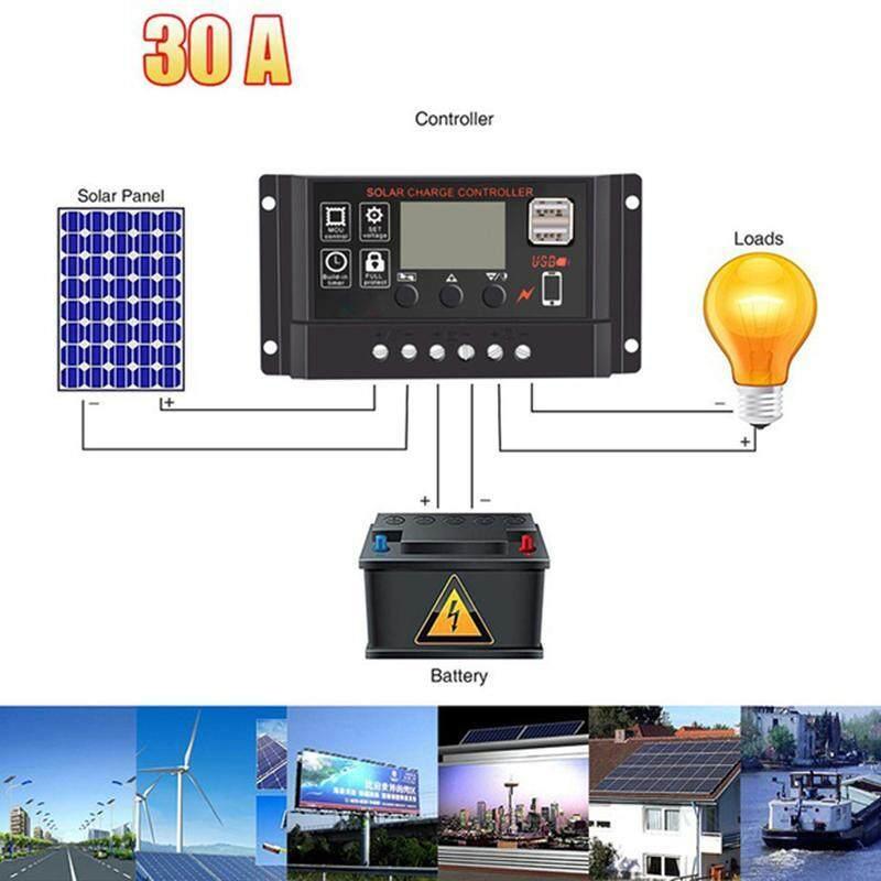 Anti-Lightning Protection Ordinary Waterproof Street Light LCD Screen Solar Controller - 12v/24v, 30A