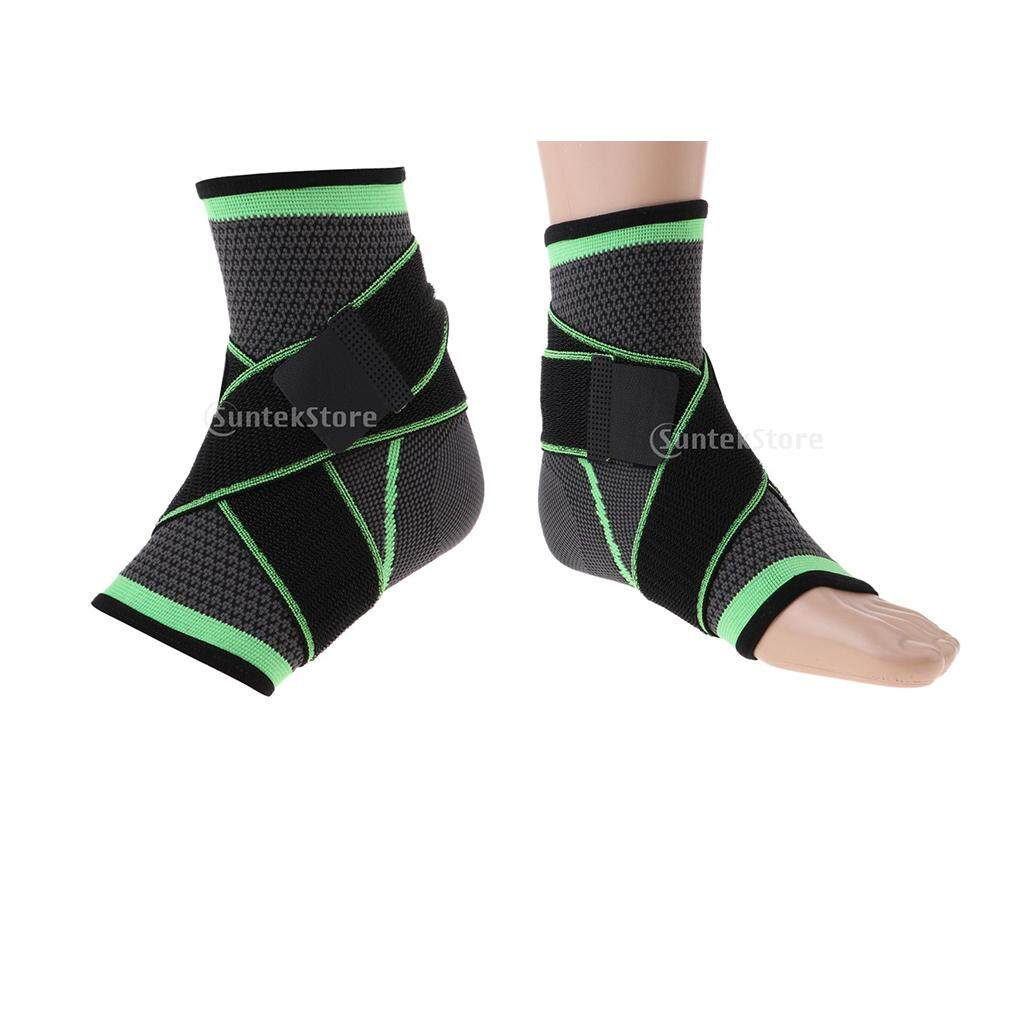 Miracle Shining 2 Pieces Foot Elastic Support Ankle Protector Guard Brace Compression Wrap