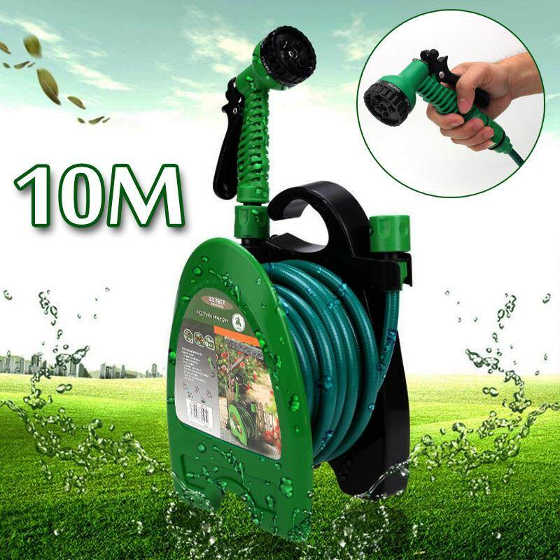 10m Wall Mounted Hose Reel Rack Portable Storage Clean Cast Hanger Garden Yard