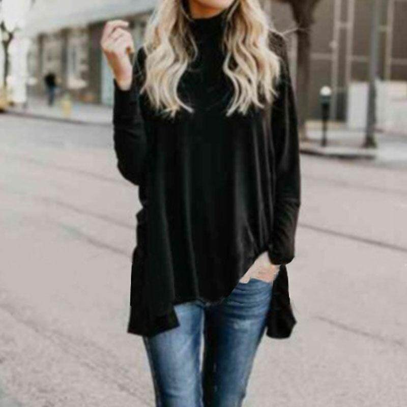 Women Pullover Baggy High Neck Blouse Tee T Shirt Batwing Long Sleeve Tunic Top Black By Five Star Store.