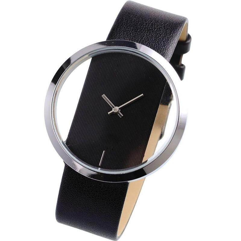 Quartz Wrist Watch Elegant Sports Transparent Dial Leather Strap Black Unisex- WAA024 Malaysia