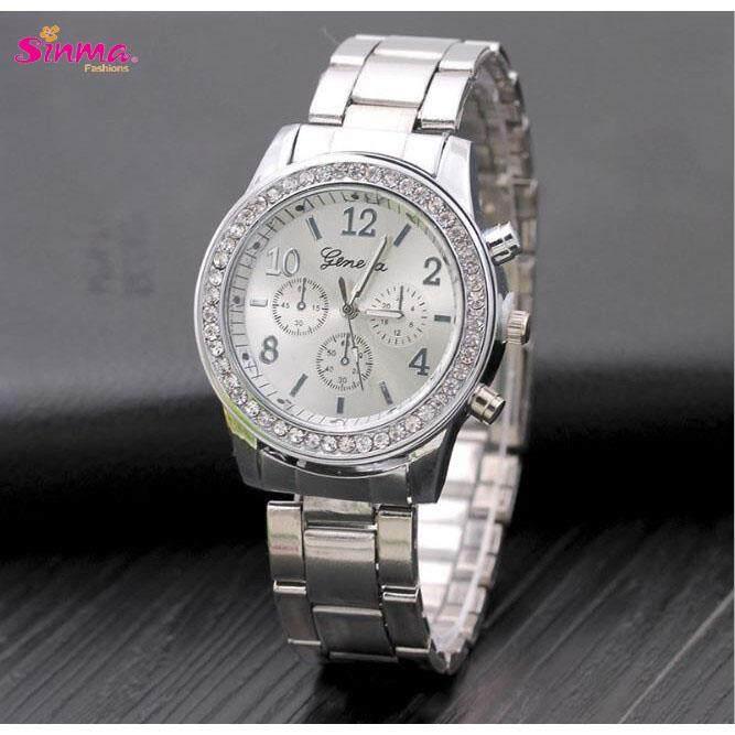 Sinma Geneva Steel Belt Elegant Quartz Diamond Chronograph CRT Women's Watches