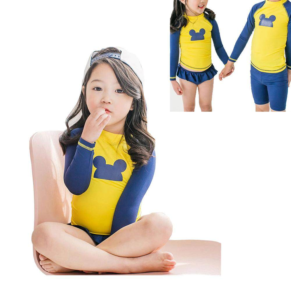 453be9b049 Girls Sunscreen Long Sleeve Two-Piece Swimwear Children Swimsuits Baby Kids  Swimming Clothes CEF
