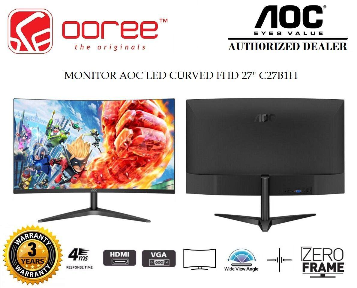 AOC 27 C27B1H LED CURVE HD READY (RESOLUTION: 1920x1080) LCD MONITOR (4MS RESPONSE TIME, VGA + HDMI INPUT, NO SPEAKER & VESA WALL MOUNT) 3YEARS WARRANTY, BLACK COLOUR Malaysia