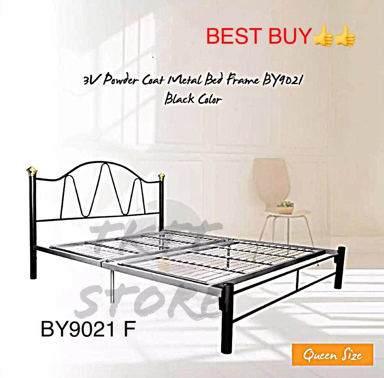 Tktt 3v By9021f Powder Coated Queen Foldable Bed Frame Size Metal Divan Strong