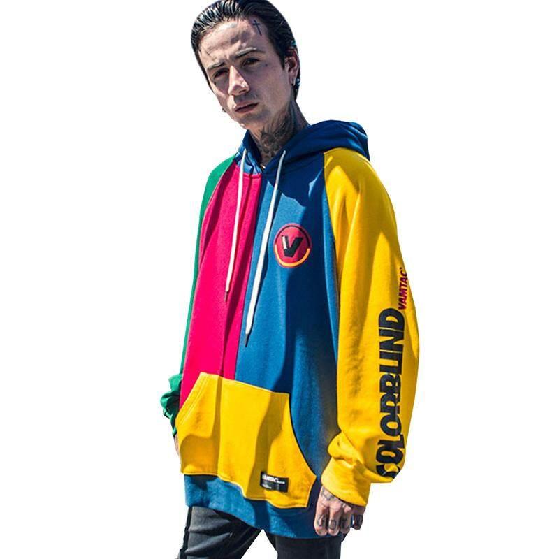 Bida Mens Korean Style Hip Hop Color Block Long Sleeve Hoodies