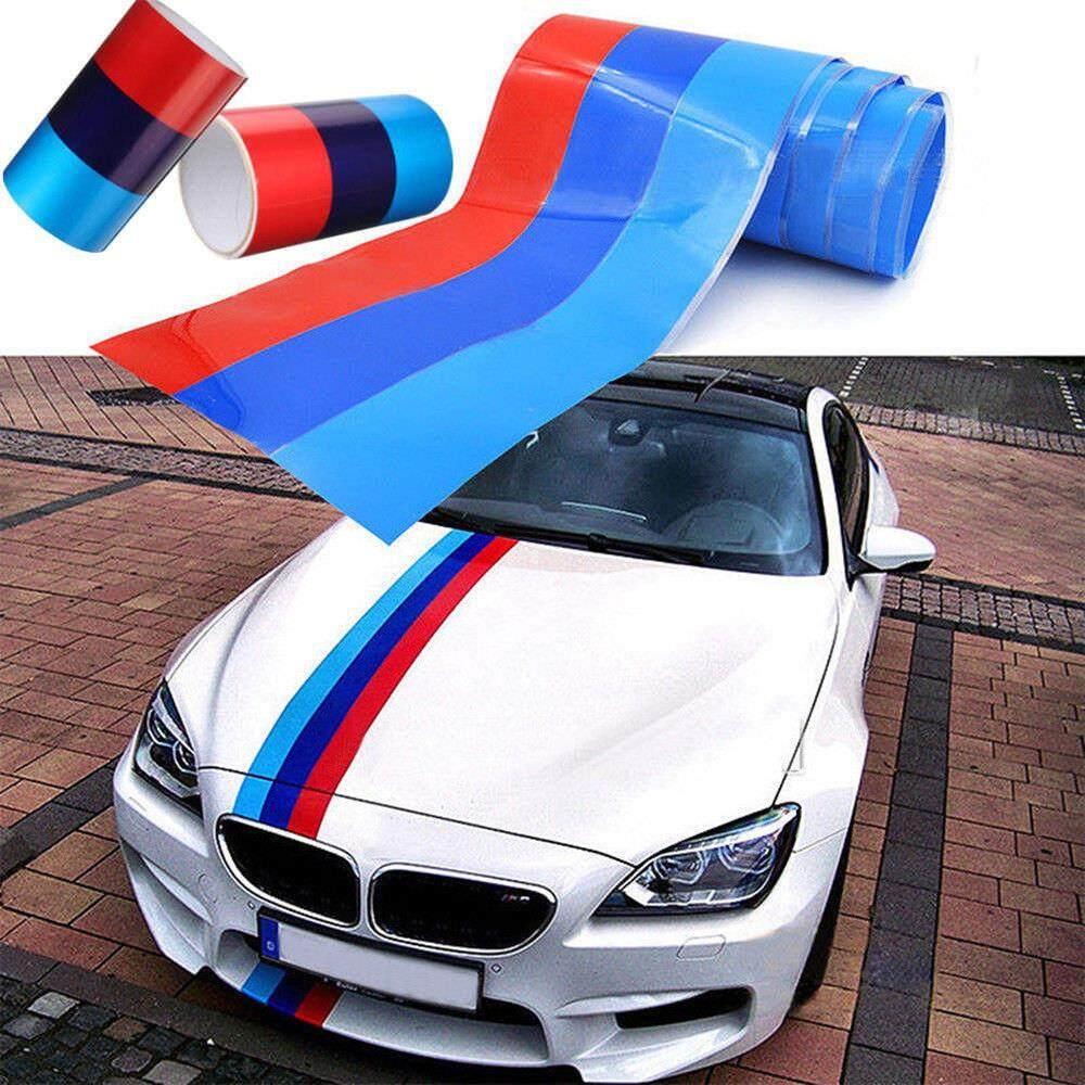 Colored bmw m sport striped vinyl sporty car sticker 1 meter