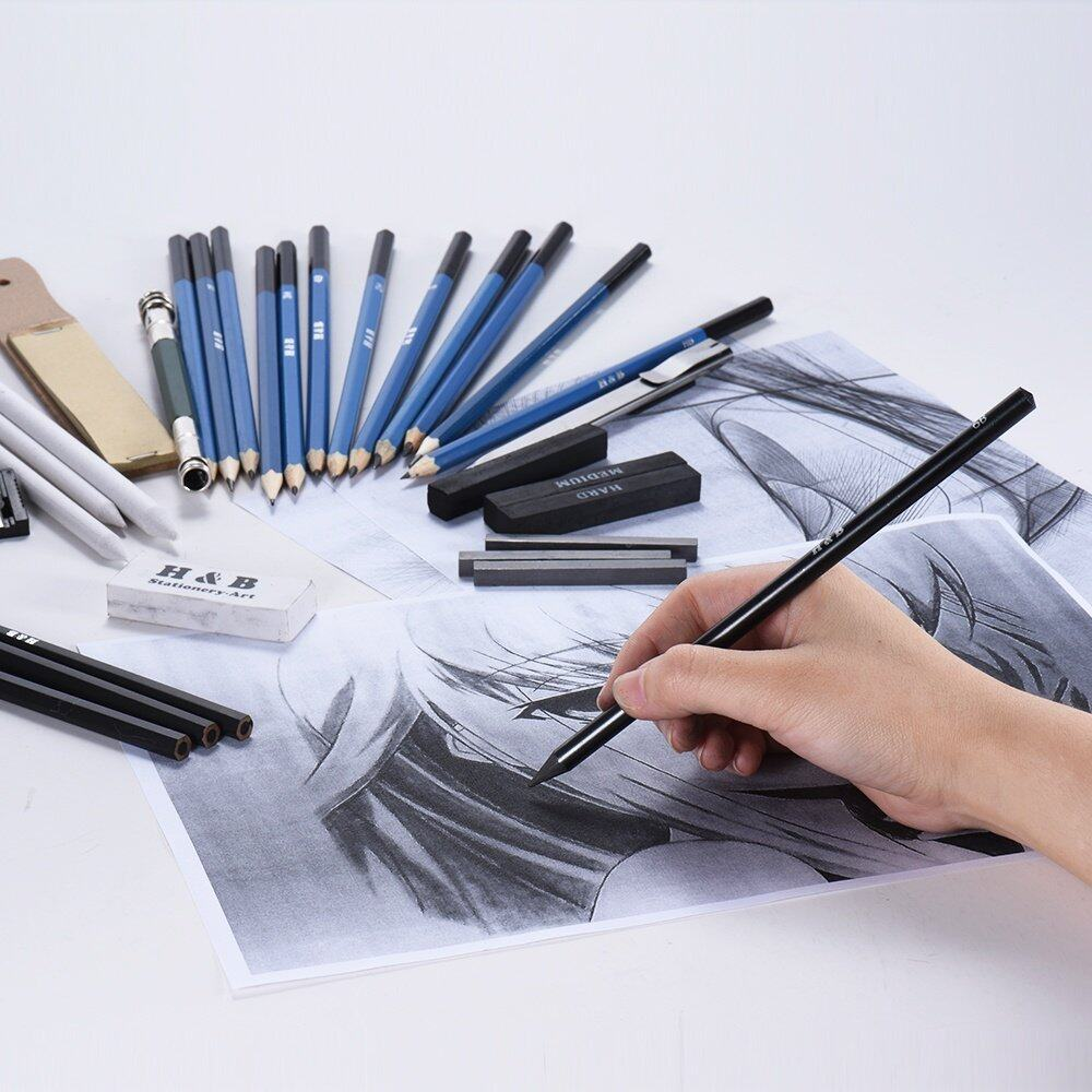 Free shipping fee32pcs set professional drawing sketch pencil kit including sketch pencils graphite charcoal pencils sticks erasers sharpeners