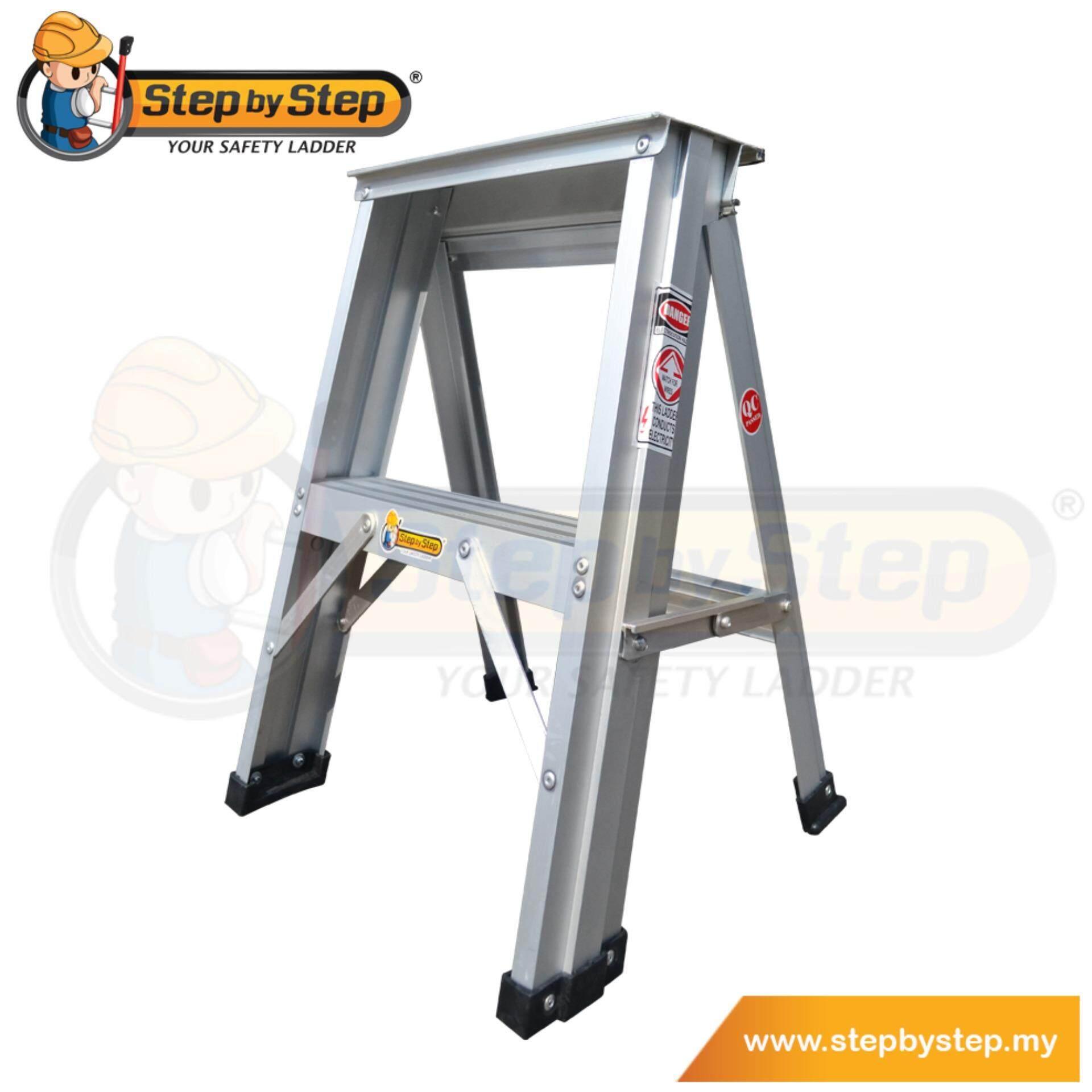 Step by Step Aluminium Single Sided A-Shape Ladder (SL02) - 2 Steps/ Step Stools