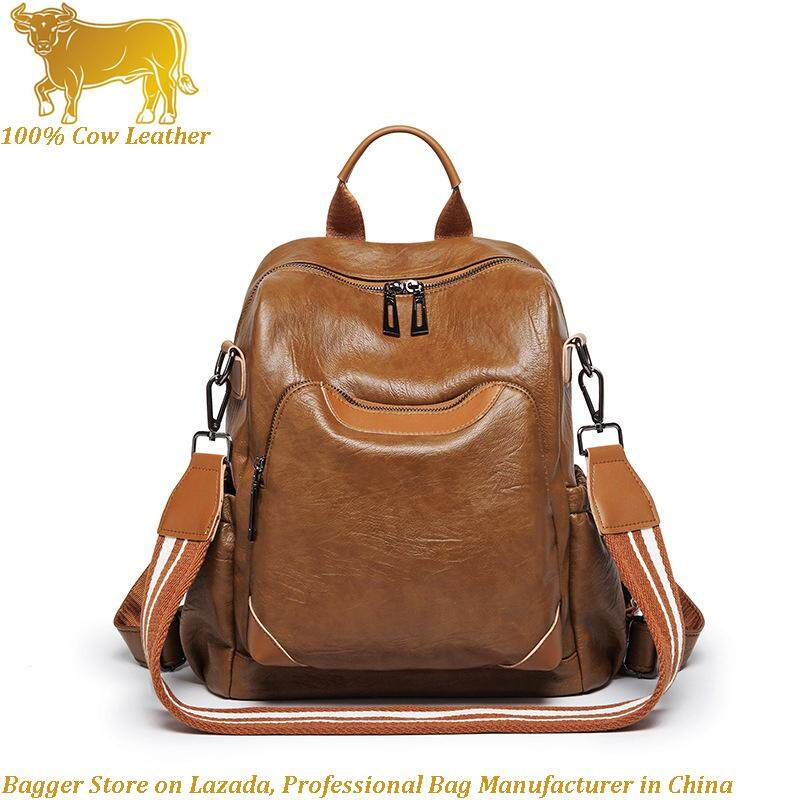 Genuine Cow Leather Cowhide Shoulder bags Casual Fashion Girl Backpack Travel Portable Travelling Backpacks For Women