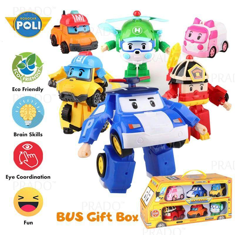 PRADO 6 in 1 Korean Animation Cartoon Robocar Poli Transformation Robot Car Toys Set
