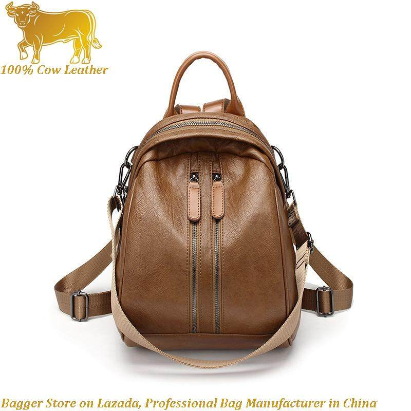 New Cow Leather Cowhide Women s Bag Korean Style Fashion Simple Backpack  Girl Multi-Function Travelling d20545b9e45de