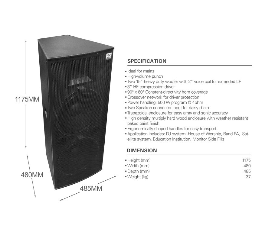 """ProRock PR-152IYS PA SpeakerSystem Professional 2-way Loudspeaker with 2 x  15 inch Woofer and 1 3"""" High Frequency Horn Drive for Indoor Outdoor Live"""