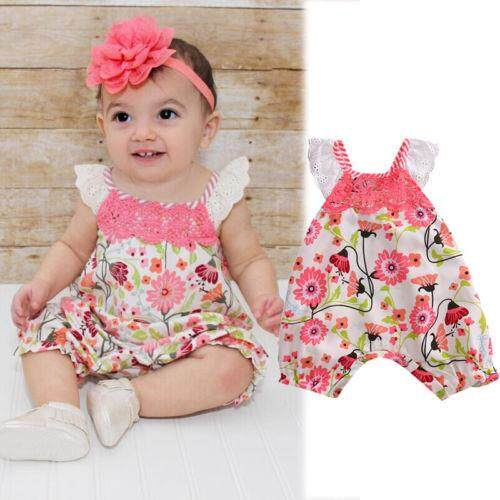 7585a6ad8fc5 Adorable Newborn Baby Girl Flower Romper Jumpsuit Bodysuit Sunsuit Outfits