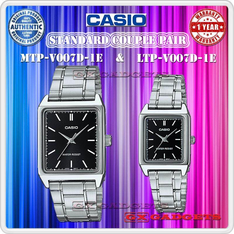 CASIO MTP-V007D-1E + LTP-V007D-1E STANDARD Analog Couple Pair Watch Stainless Steel Band Water Resistant MTP-V007 LTP-V007 V007 Series Malaysia