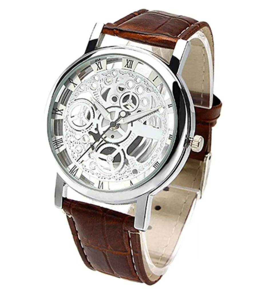 [FAST SHIPPING][LOCAL SELLER] New Brand Mens Womens classic Transparent Skeleton Mechanical Stainless Steel Brown Leather Strap Wrist Watch Jam Tangan Lelaki Malaysia