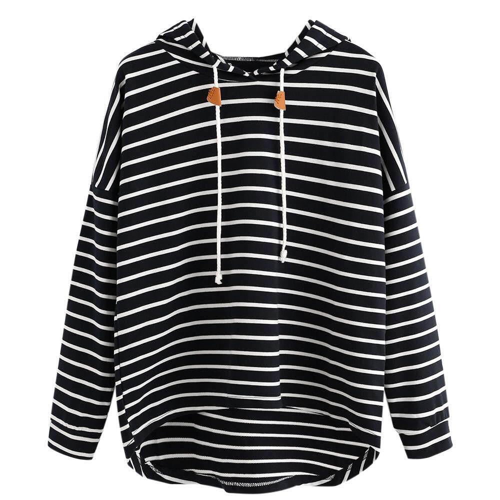 0ca48b70cc2 CalvinStore Women Plus Size Stripe Casual Sweatshirt Long Sleeve Crop  Jumper Pullover Tops