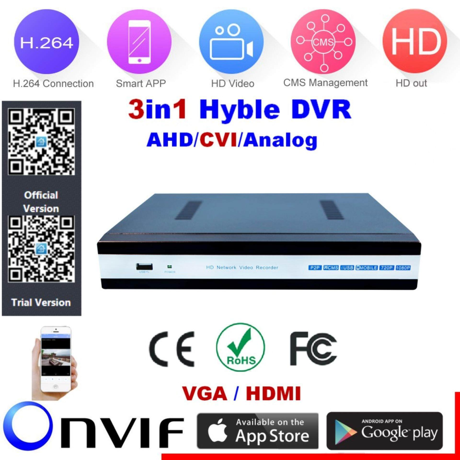 HanJia H 264 4Channel Full 1080N@25fps 3in1 Hybrid DVR NVR(AHD/Analog/IP)  HDMI/VGA P2P Cloud support 1 hard disk interface Android/iOS APP Free CMS