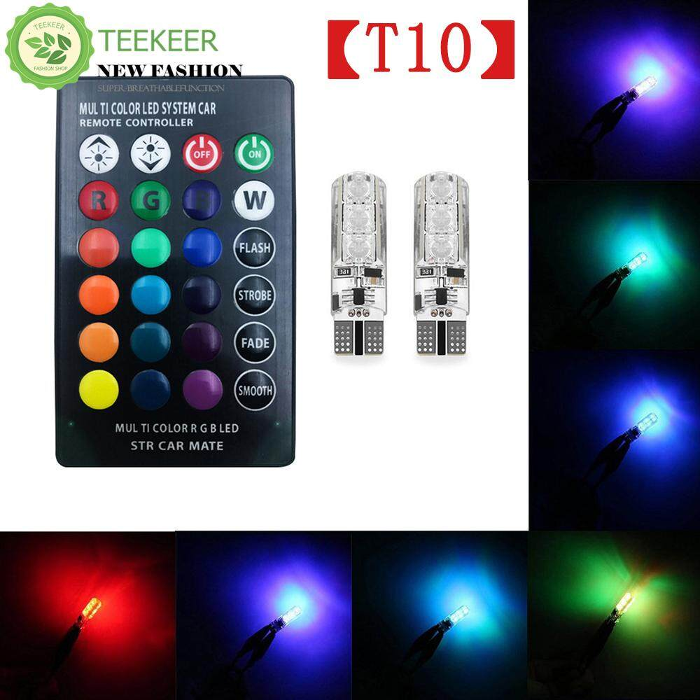 Teekeer 2x T10 6SMD 5050 RGBW LED Car Interior Reading Lights Super Bright 16-Color Changing Width Lamp Wedge Side Light With Wireless Remote Control