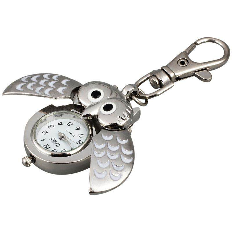 Owl Pocket Watch with Key Chain 40 x 25 mm Silver Malaysia