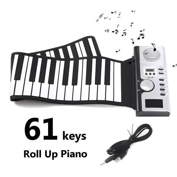 Portable LCD Display 61 Keys Roll Up Digital Electronic Soft Keyboard Piano Gift - Malaysia