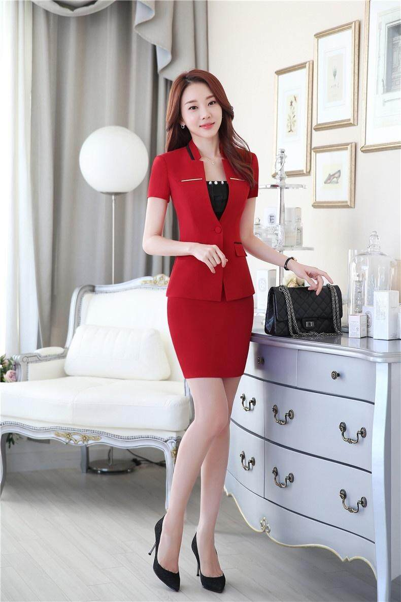 80f0a350f047 Summer Formal Female Red Blazer Womens Business Suits for Women Skirt and  Jacket Sets Elegant Slim