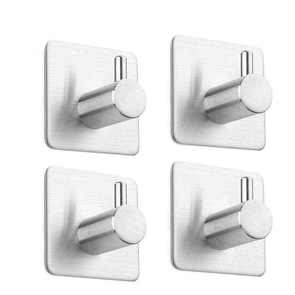 4 Pcs Self Adhesive Hooks, Max 8kg Towel Rail, Hat Towel Robe Coat Stick-Up Stainless Steel Hanger For Kitchen Bathrooms Lavatory Closets, Water And Rust Proof By Sunnny2015.