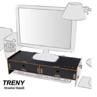 TRENY(Thick 5mm) Computer LCD Monitor Riser With Keyboard Accessories Storage 5088T-B