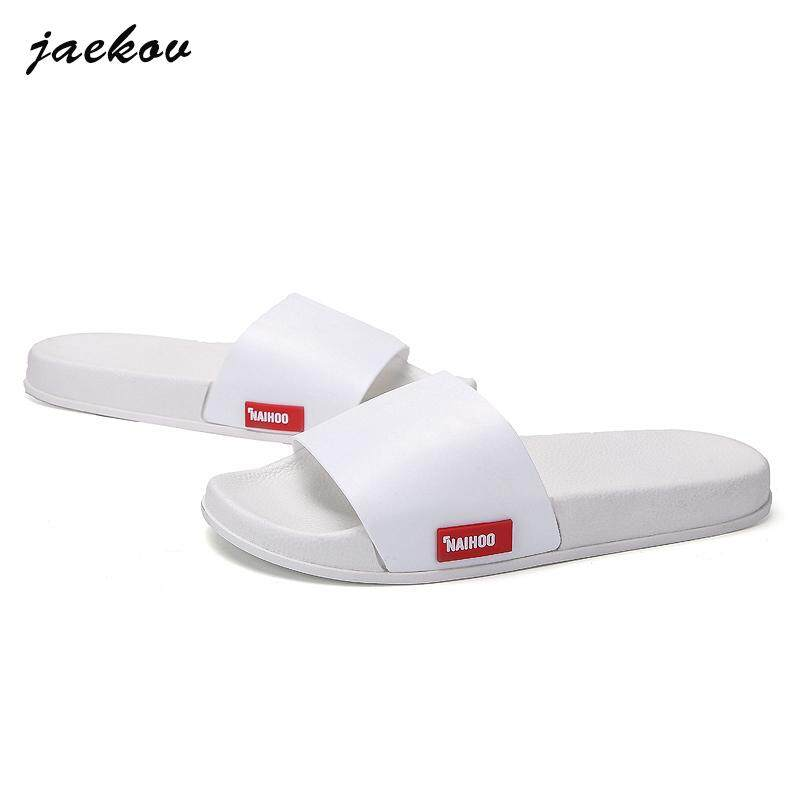 b2ed83d3b Jaekov Mens Summer Leather Sandals Slippers Casual Beach Flip Flops Flat  With Sandals (black、
