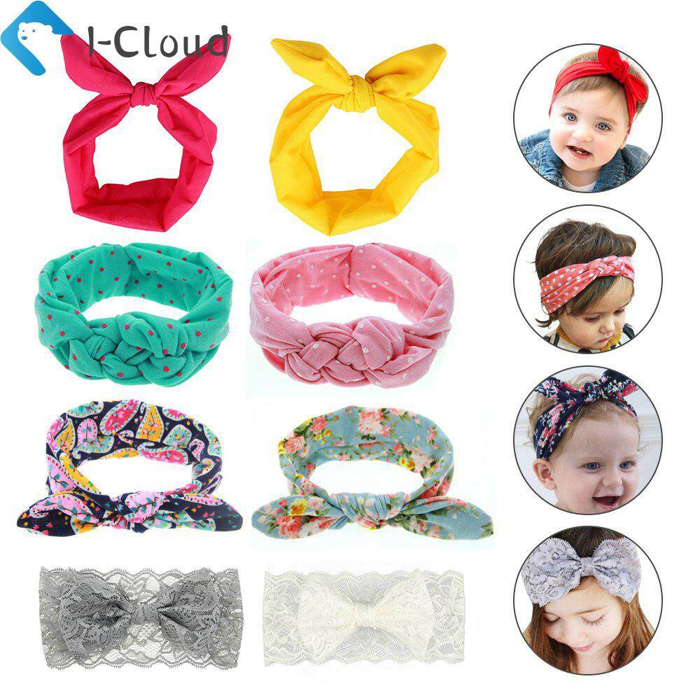 e3b91ac3d64d I-Cloud 8Pcs Baby Hairband Girl Elastic Knotted Hair Accessories Headbands  for Newborn