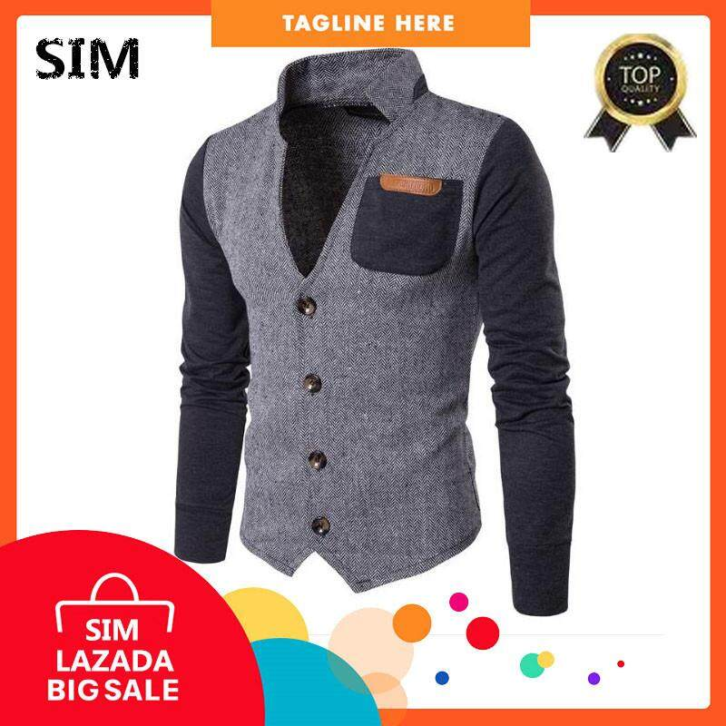 Sim Korean Version Of The Mans Stitching Cardigan Stand Collar Sweater Jacket Slim Jacket By Sim Men Store.