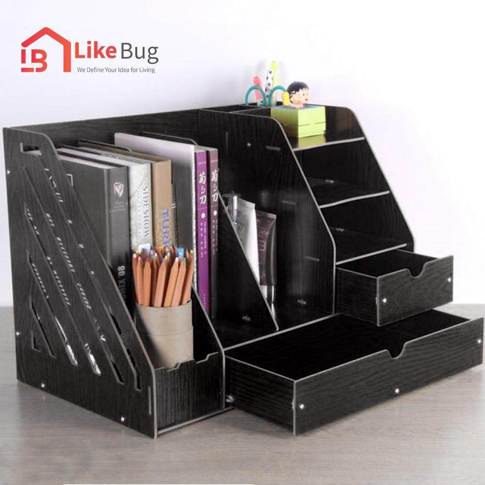 Likebug Triple Grid Large Size Office Desk Organizer Doent Rack