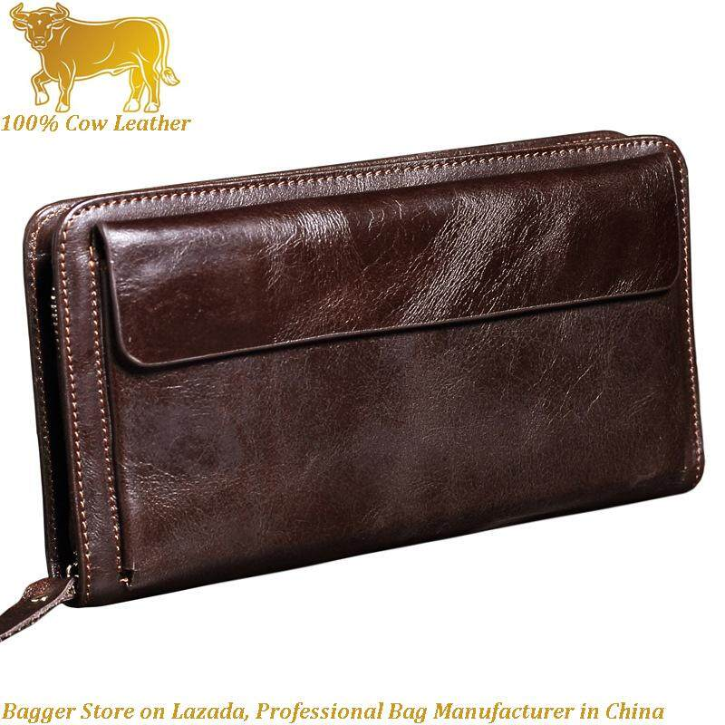 f2f705afab1b 100% Genuine Cow Leather Cowhide Men s Wallet Long Retro Top Layer Clutch  Bag Zipper Multi
