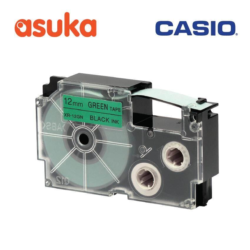 Casio XR-12GN1 12mm Black on Green tape ( 8 Meter ) / For KL