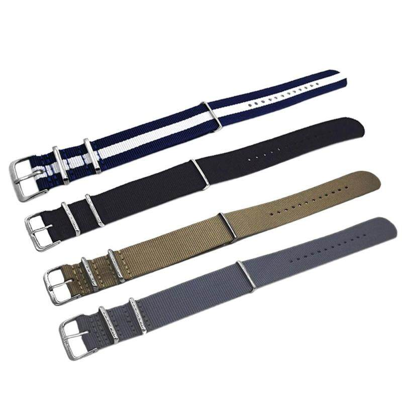 4 PCS 4 Colors Fashion Colored Woven Nylon Fabric Replacement Wrist Watch Band Strap Bracelet Belt with Stainless Steel Buckle Clasp 18mm Width Malaysia