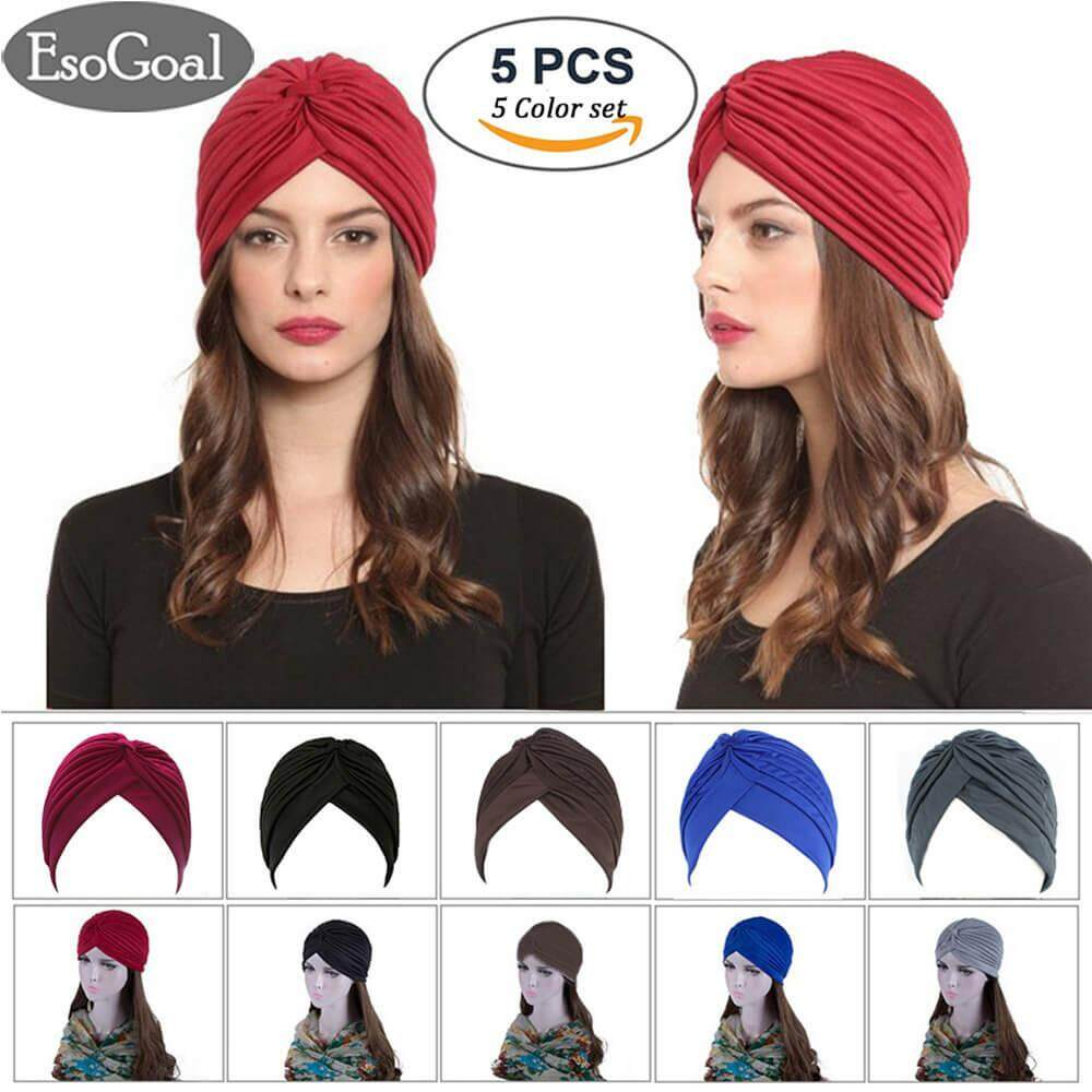 EsoGoal 5 Pack Twisted Pleated Stretchable Polyester Head Wrap Knit Bonnet Turban Hat Hair Wrap Cover
