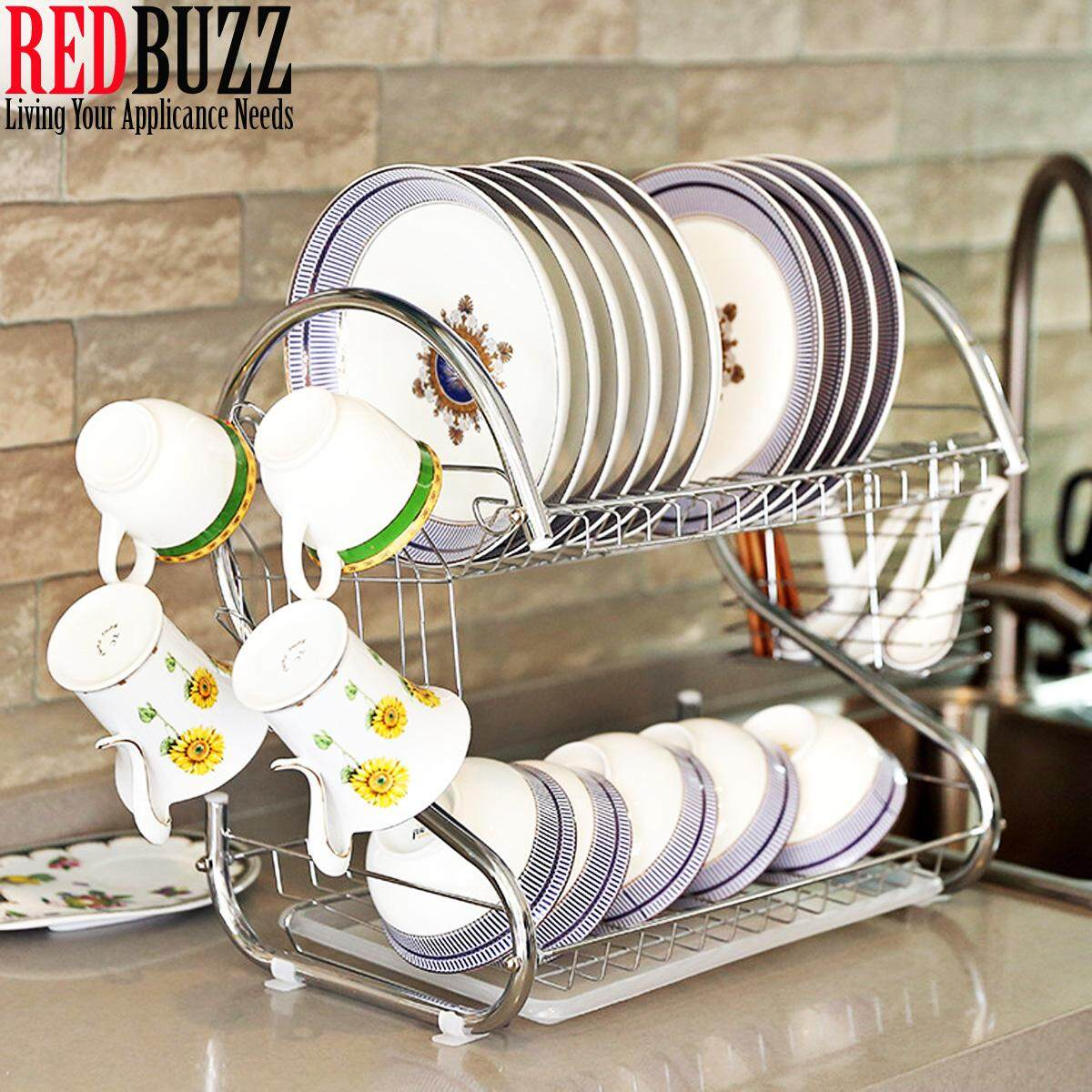 Rak Pinggan Stainless Steel 2 Layer S Shape Dish Rack Set with Tray