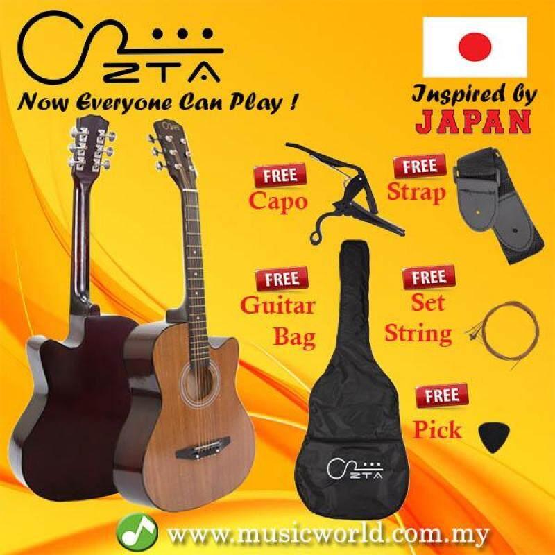 ZTA 38 Inch Acoustic Guitar SAPELE Wood Cutaway Starter Pack Folk Guitar Bundle Malaysia