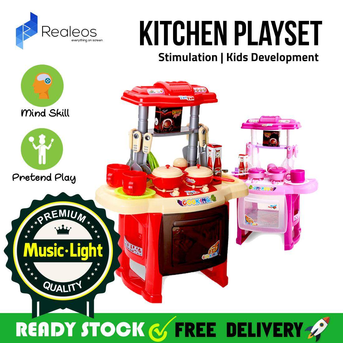 !!READY STOCK!! Realeos Mini Kitchen Playset Pretend Play Kids Educational Toy Stimulation with Music and Light (Pink) - R361
