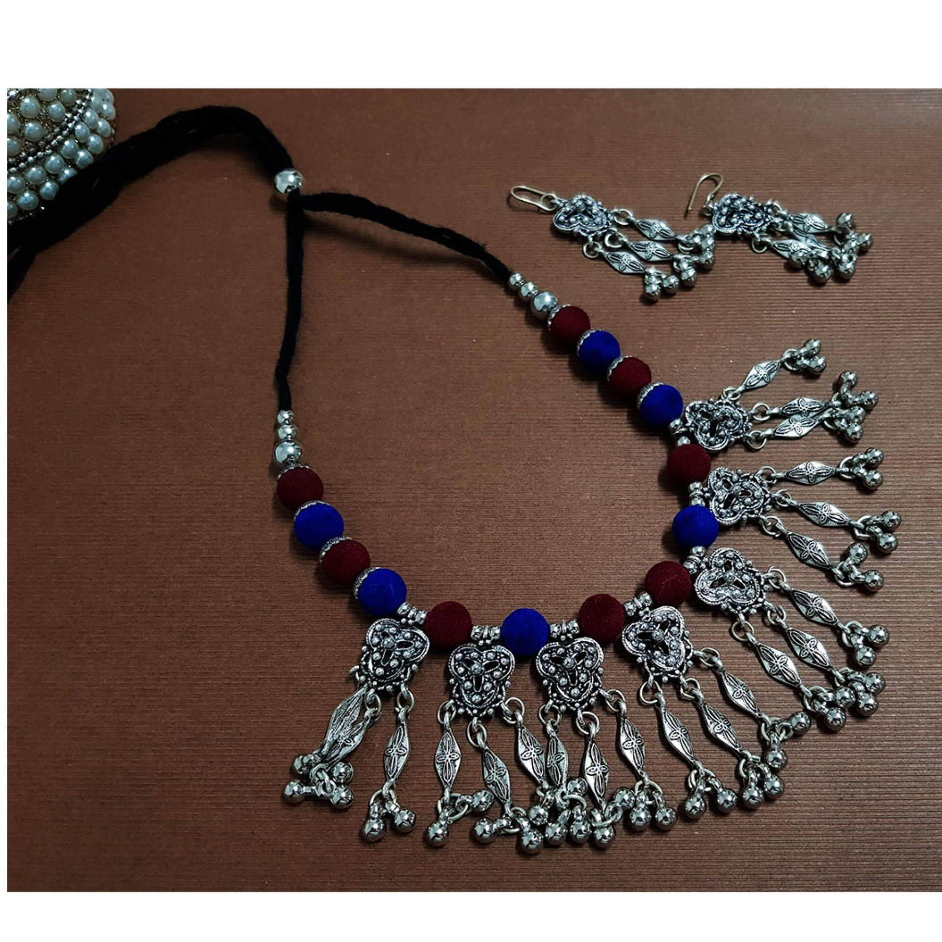 Antique German Silver Oxidised Plated Tribal Thread Jewelry Necklace  Earring Set