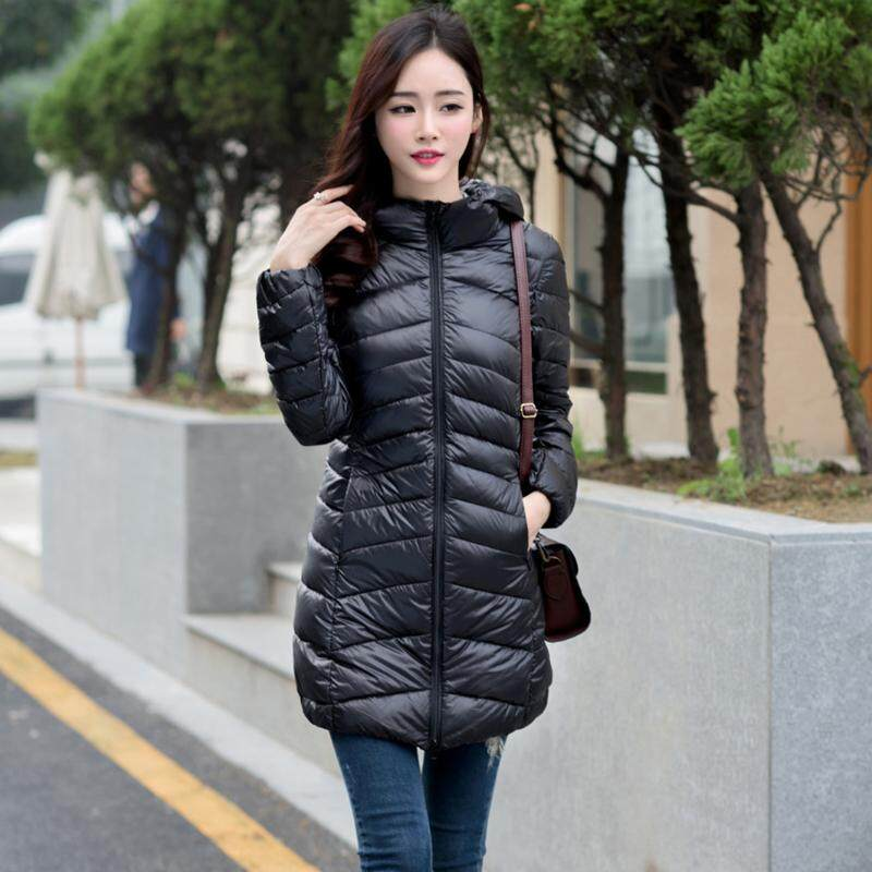 c1fa83948c4c4 Women Winter White Duck Down Jackets Slim Hooded Long Down Coat Portable  Plus Size Ultra Light
