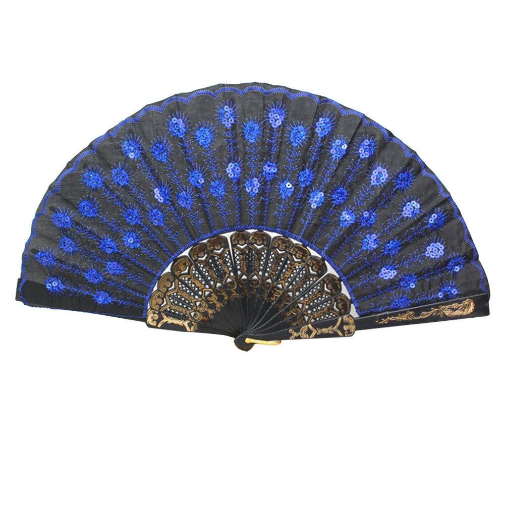 Embroidered Folding Sequins Hand Lace Flower Fan( Sapphire )