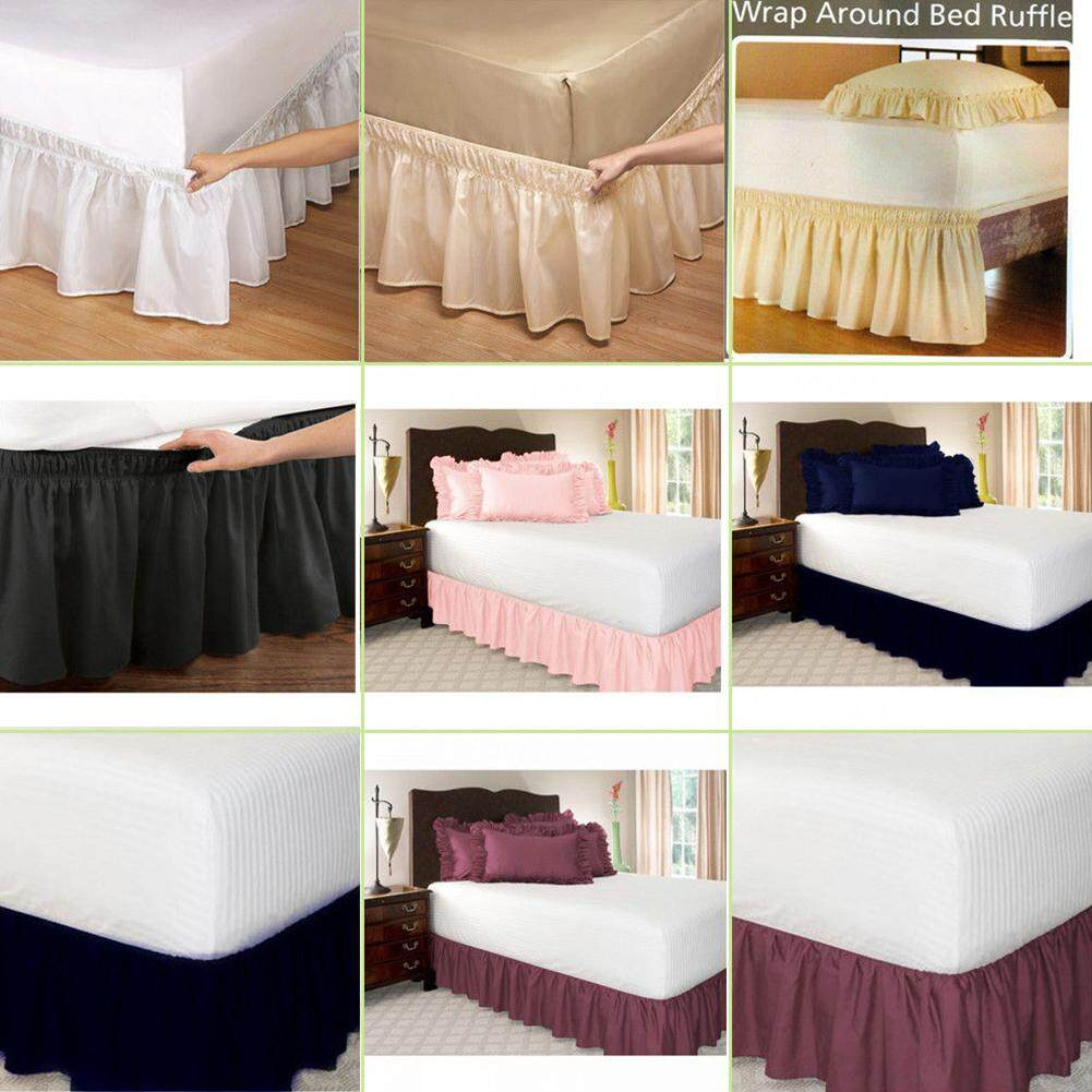 Sm Solid Color Ruffle Wrap Around Elastic Bed Skirts Dressing Drop Bed Decoration By Sso Mall.